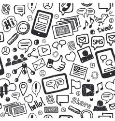 Social Media Doodles Hand Drawn Seamless Pattern vector image
