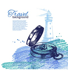Travel vintage background Sea nautical design vector image