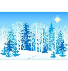 winter forest landscape vector image vector image