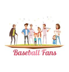 baseball fans family design concept vector image