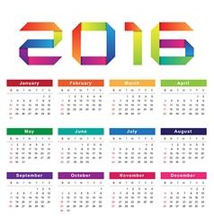 Calendar 2016 Week starts from Sunday vector image vector image