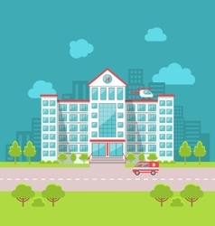 City Hospital Building with Ambulance in Flat vector image