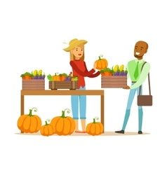 Man Buying Vegetables From Farming Stand Farmer vector image