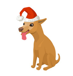puppy in santa hat stock vector image vector image