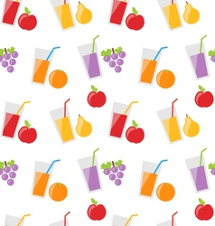 Seamless Pattern with Different Fresh Fruit Juices vector image vector image