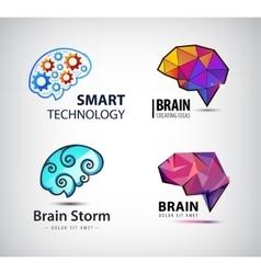 set of brain technology brainstorm logo vector image