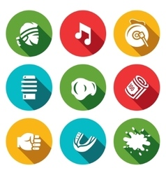 Set of Muay Thai Icons Fighter Music vector image vector image