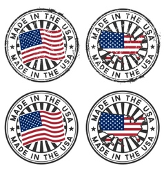 Stamp with map flag of the USA Made in the USA vector image