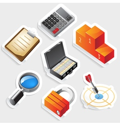 Sticker icon set for business and success vector image vector image