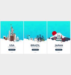 usa brazil japan time to travel set of travel vector image