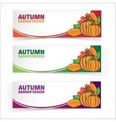 Autumn banner set with pumpkins vector image