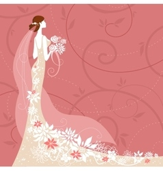 Bride on pink background vector image vector image
