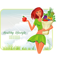 girl with healthy vegetables vector image vector image