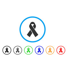 mourning ribbon rounded icon vector image