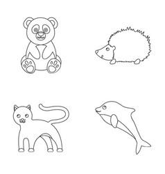 panda hedgehog dolphin pantheranimal set vector image vector image