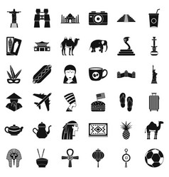 tourism icons set simple style vector image vector image