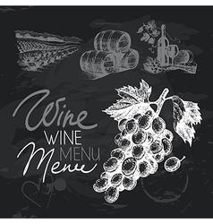 Wine hand drawn chalkboard design set vector image