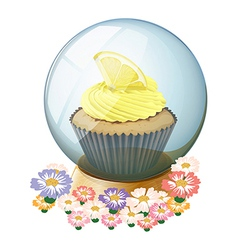 A crystal ball surrounded with flowers vector