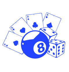 aces playing cards with number eight ball isolated vector image