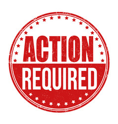 action required stamp vector image