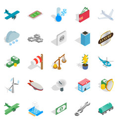 airplane icons set isometric style vector image vector image