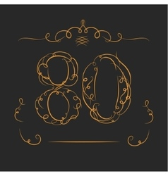 Anniversary 80th signs vector