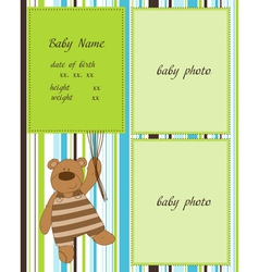 baby arrival card with photo frames vector image
