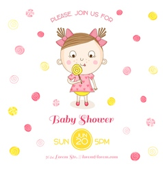 Baby shower or arrival card - baby girl with candy vector