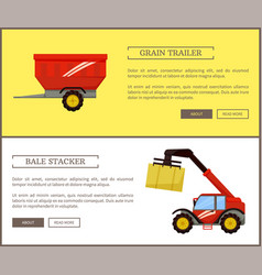 Bale stacker and grain trailer vector