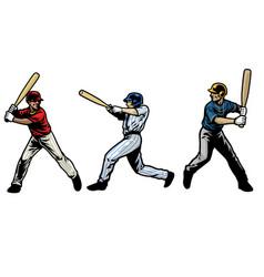 baseball player set swinging bat vector image