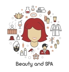 Beauty and SPA Line Art Thin Icons Set vector image