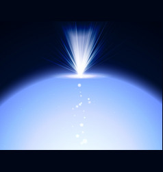 bright explosion with blue lights earth shiny in vector image