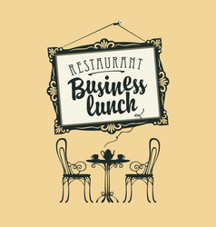 business lunch menu with picture frame and table vector image
