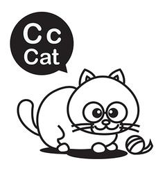 C cat cartoon and alphabet for children vector