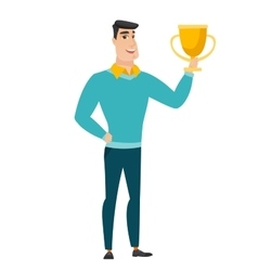 Caucasian business man holding a trophy vector