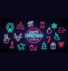 christmas and new year neon signs winter holiday vector image