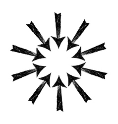 Circle of black grungy arrows vector image