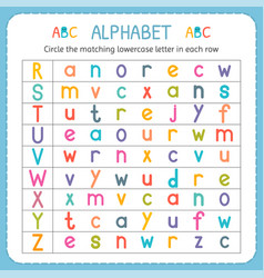 Circle the matching lowercase letter in each row vector