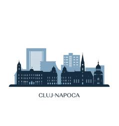 Cluj-napoca skyline monochrome silhouette vector