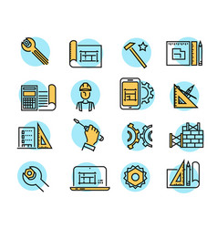 color building icons in simple style industry vector image