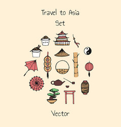 colorful asian set includes oriental elements vector image