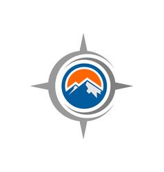 compass mountains logo icon vector image