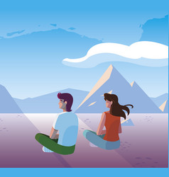 Couple contemplating horizon in snowscape scene vector