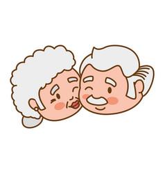 Couple elder heart kiss vector