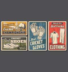Cricket equipment and uniform banners set vector