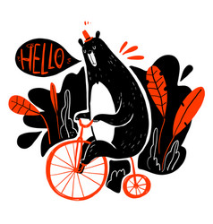 cute bear riding a bike collection of hand drawn vector image