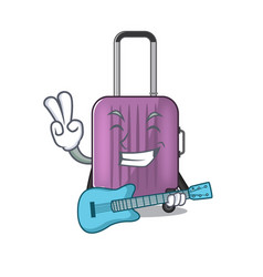 Cute travel suitcase with guitar mascot shape vector