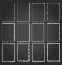 decorative rectangle frames and borders set vector image