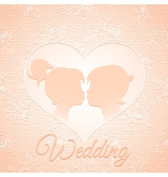 Delicate cream wedding card vector image