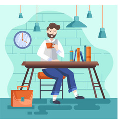 Design businessman drinking tea or coffe during vector